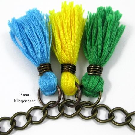 Adding more tassels - Colorful Tassel Jewelry - tutorial by Rena Klingenberg