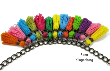 Keep adding tassels - Colorful Tassel Jewelry - tutorial by Rena Klingenberg