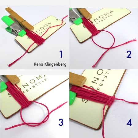 Knotting the tying cord - Colorful Tassel Jewelry - tutorial by Rena Klingenberg