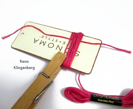 Winding the cord around the winding board - Colorful Tassel Jewelry - tutorial by Rena Klingenberg
