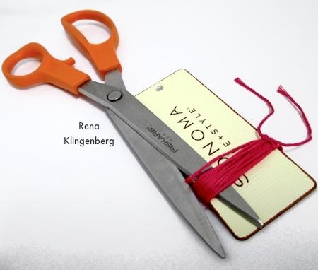 Cutting the tassel cords - Colorful Tassel Jewelry - tutorial by Rena Klingenberg