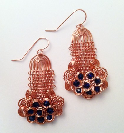 Matching copper earrings.
