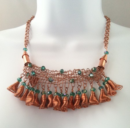 """Emerald City"" necklace made from fist woven copper wire piece."