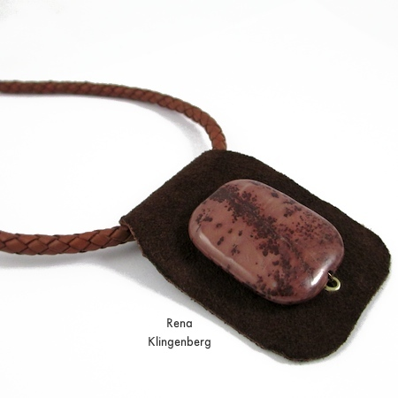 Primitive Leather and Stone Pendant - tutorial by Rena Klingenberg