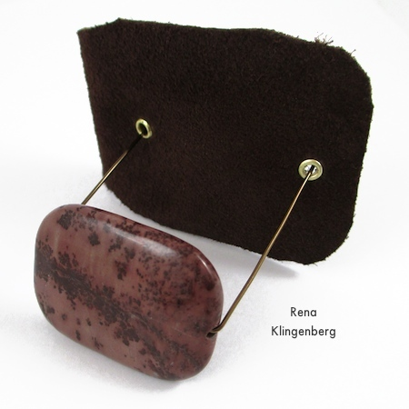 Attaching bead to pendant - Primitive Leather and Stone Pendant - tutorial by Rena Klingenberg