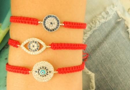 Evil eye red macrame bracelets