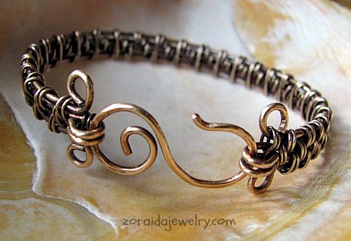 Inspired Wire Woven Bracelet in Bronze