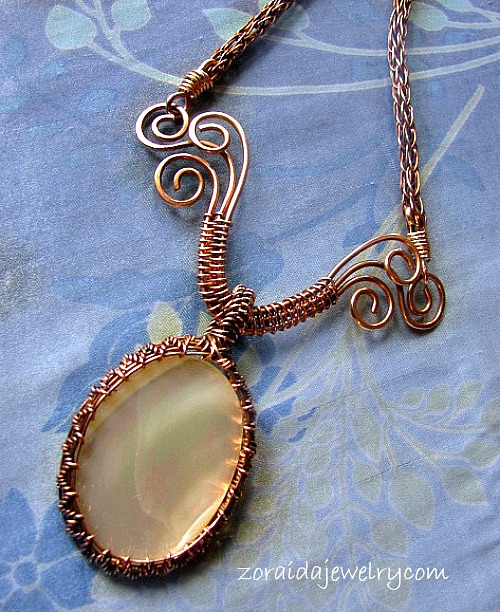 Mother of Pearl & Bronze Wire Necklace