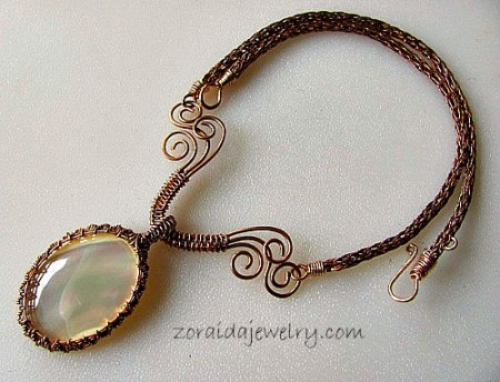 Zoraida: Mother of Pearl & Bronze Wire Necklace 1
