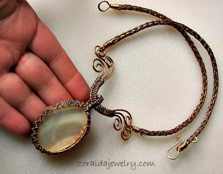 Zoraida: Mother of Pearl & Bronze Wire Necklace 3