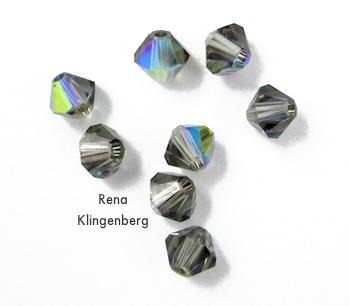Contas de bicone de cristal para brincos de arame encaracolado e de cristal - tutorial de Rena Klingenberg