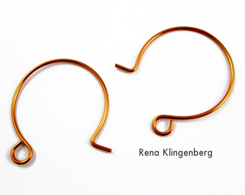 Fios de ouvido franceses para brincos de arame encaracolado e de cristal - tutorial por Rena Klingenberg