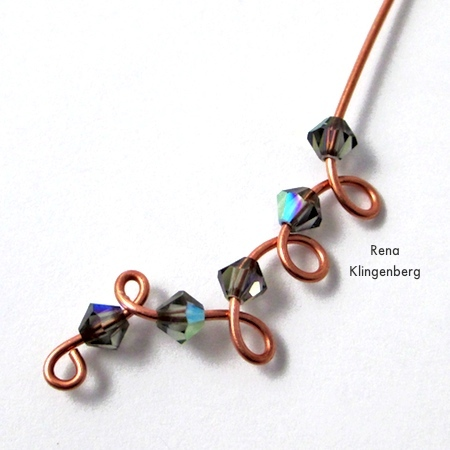 Making Curly Wire and Crystal Earrings - tutorial by Rena Klingenberg
