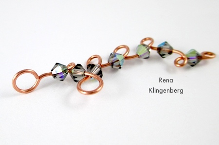 Curly Wire and Crystal Earrings - tutorial by Rena Klingenberg