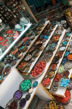 Jems and  semi-precious stones in tha market Shop