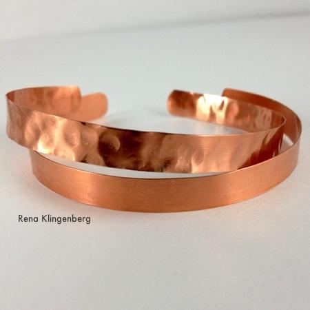 Textured bracelet with smooth bracelet - Stacking Copper Bracelets - tutorial by Rena Klingenberg
