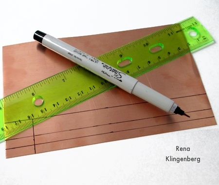 Measuring and marking for Stacking Copper Bracelets - tutorial by Rena Klingenberg