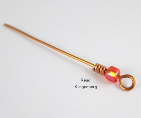 Adding a wire coil for Bead and Coil Earwires - tutorial by Rena Klingenberg