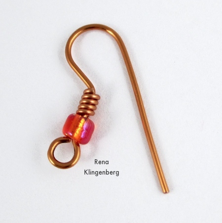 Almost finished - Bead and Coil Earwires - tutorial by Rena Klingenberg