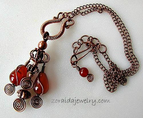 Carnelian & Copper Tassel Pendant Necklace