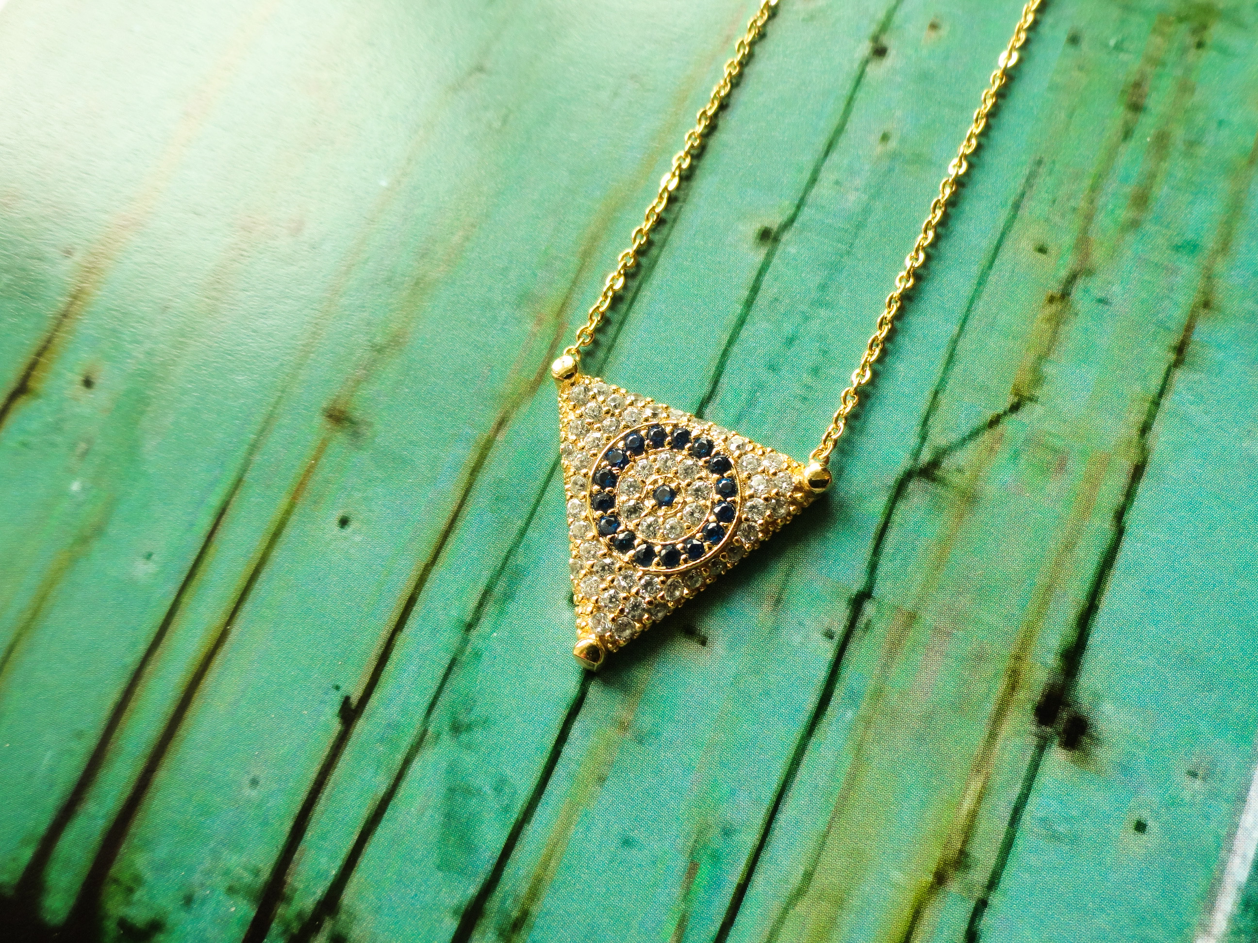 Triangle Evil Eye Necklace