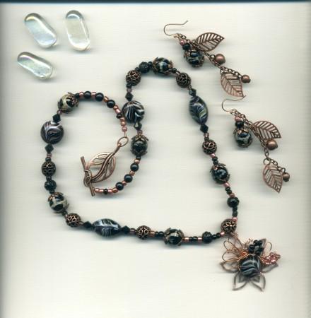 Leslie: Black & Copper Bead Stash Blended Jewelry Set