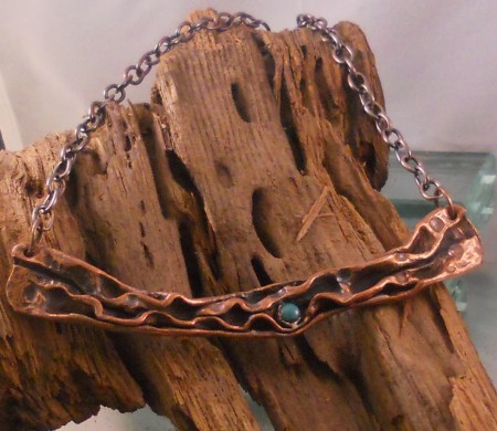 I have also been doing fold forming and air chasing. This piece is fabricated from copper pipe
