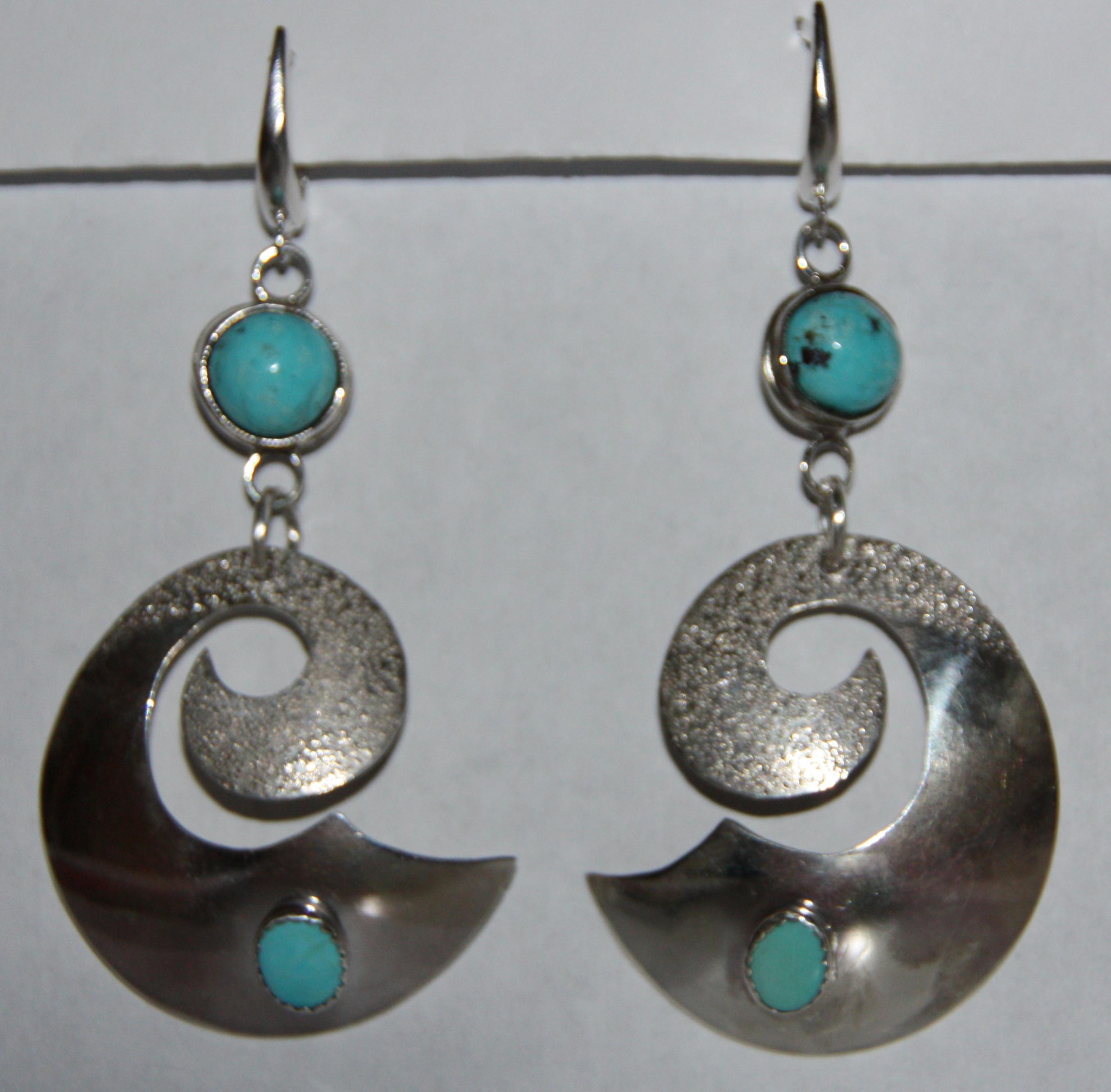 My First Silver Earrings with Turquoise
