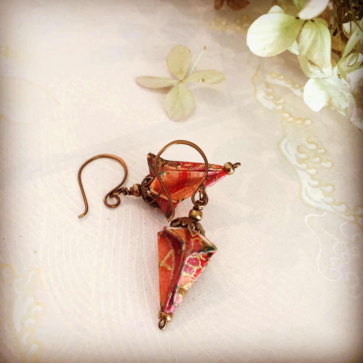 Victorian-Style Origami Drop Earrings