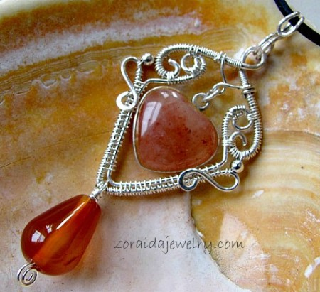 Carnelian and peach aventurine heart and silver pendant