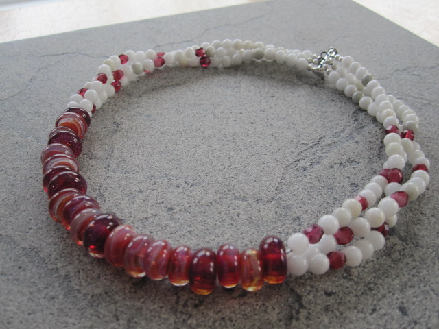Cranberry Glass Christmas Necklace