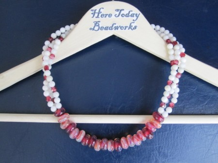 NBurger: Cranberry Glass Christmas Necklace 1