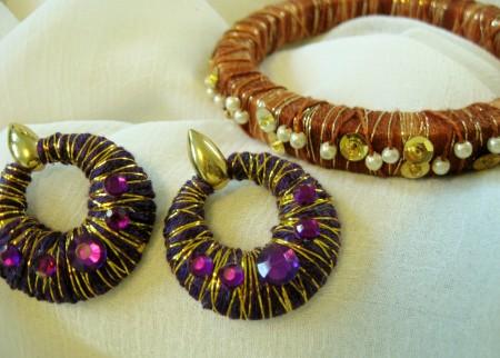 Royal Purple Thread-Wrapped Earrings, Cinnamon Thread-Wrapped Bracelet