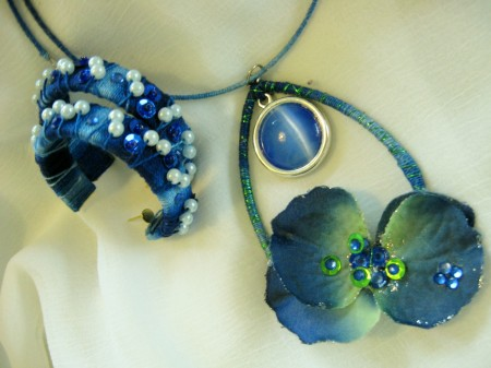 Royal Blue Thread-Wrapped Earrings and Necklace
