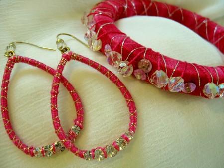 Fuschia Thread-Wrapped Bracelet and Earrings