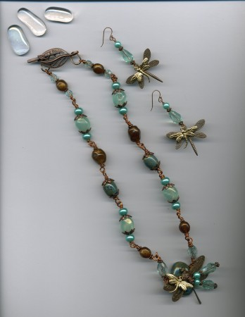 Leslie: Sea Colored Copper Dragonfly Necklace & Earrings