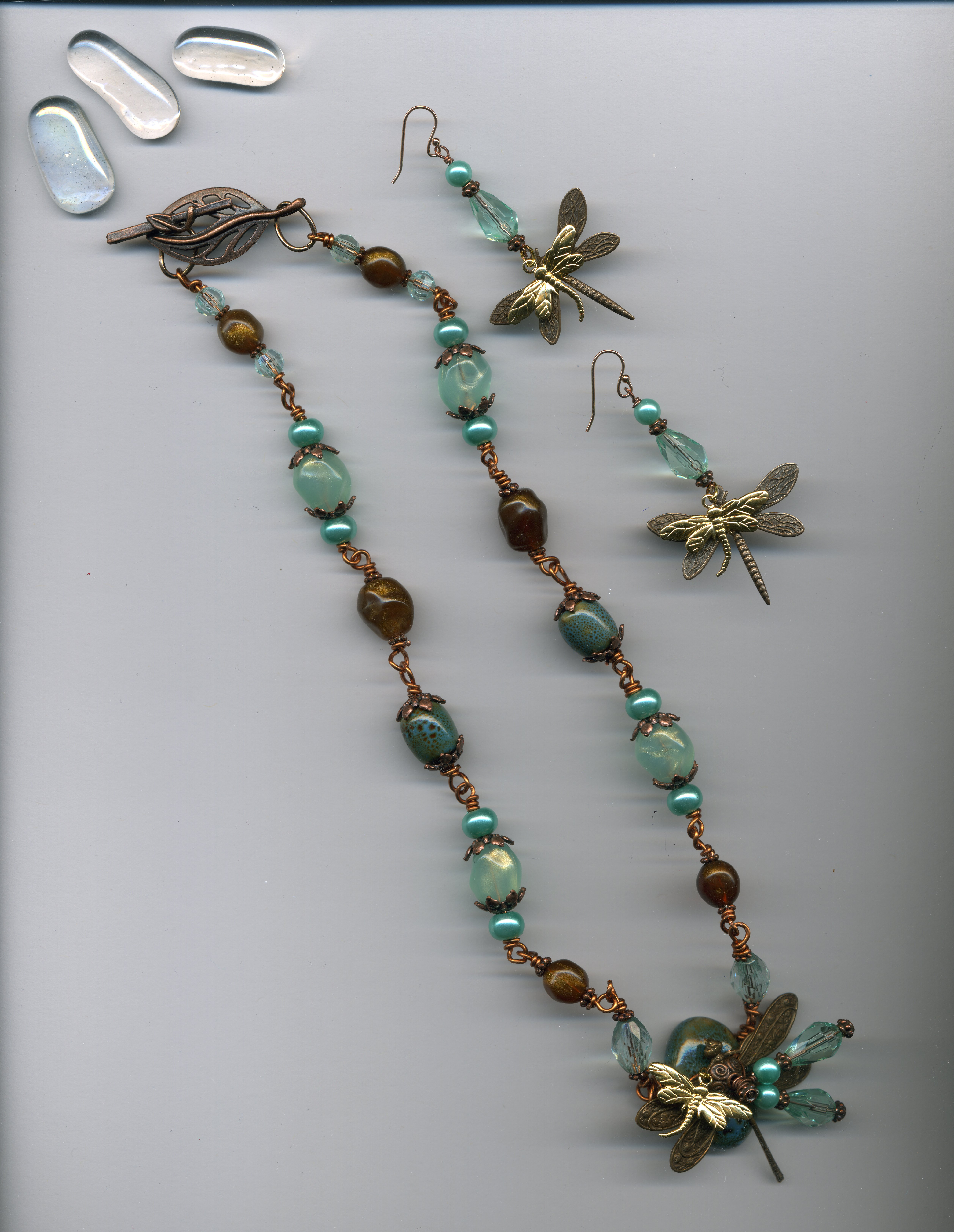 Sea Colored Copper Dragonfly Necklace & Earrings