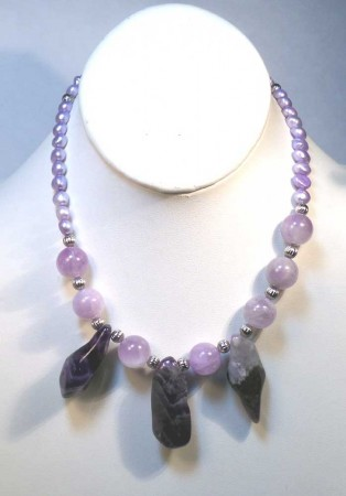 Amethyst Necklace on Display