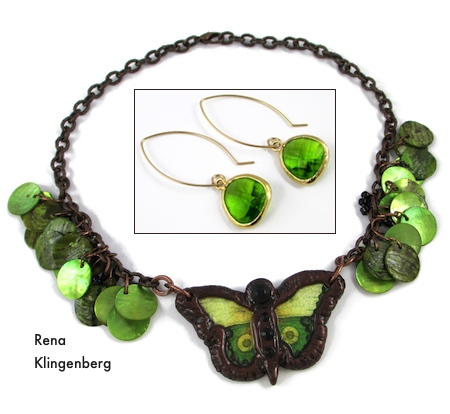 Developing Your Own Jewelry Design Style.  Green Butterfly Necklace by Kelly Marra; Green Glass Earrings by Rena Klingenberg