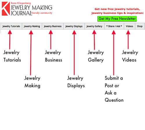 Jewelry Making Journal menu bar - Rena Klingenberg