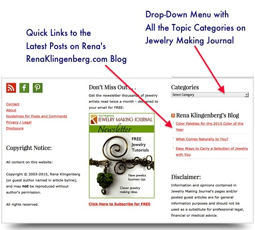 How to Find Content on Jewelry Making Journal with the Category Drop-Down Box - Rena Klingenberg