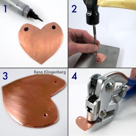 Punching holes in the metal hearts - Secret Love Letter Pendant - tutorial by Rena Klingenberg