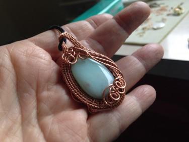 Woven Copper Wire Pendant with Amazonite Stone