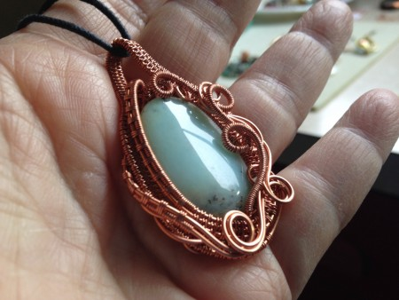 woven copper wire pendant with amazonite stone jewelry