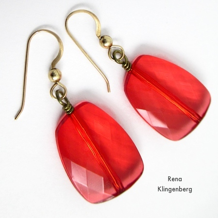 Working Jewelry into Personal Style (video).  Red acrylic and 14k gf earrings by Rena Klingenberg