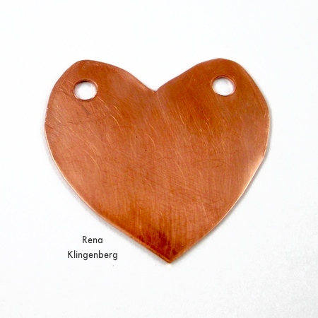 Copper heart with holes punched for Secret Love Letter Pendant - tutorial by Rena Klingenberg