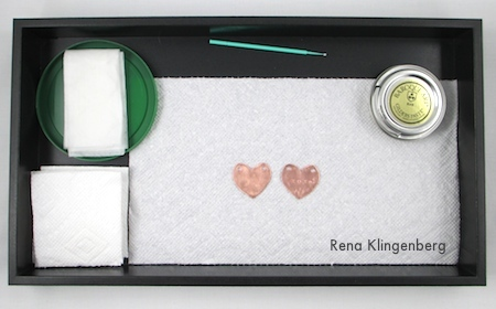 Workspace for Gilders Paste - Secret Love Letter Pendant - tutorial by Rena Klingenberg