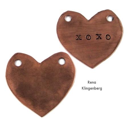 Grungy metal hearts for Secret Love Letter Pendant - tutorial by Rena Klingenberg