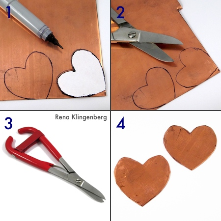 Cutting out the metal hearts for Secret Love Letter Pendant - tutorial by Rena Klingenberg