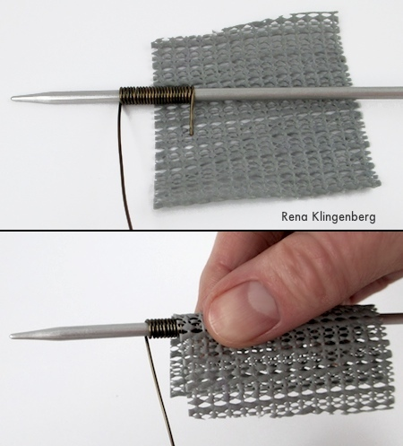 Comfortable, easy way to hold your wire on the mandrel - Wire Focal Bead - tutorial by Rena Klingenberg
